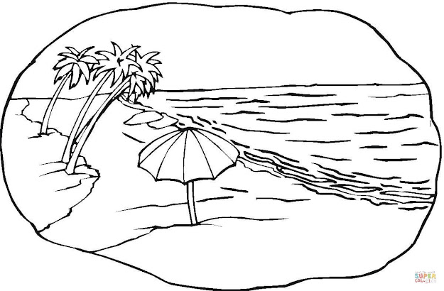 Click The Beach Scene Coloring Pages