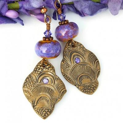 exotic boho bronze and lampwork dangle earrings for women