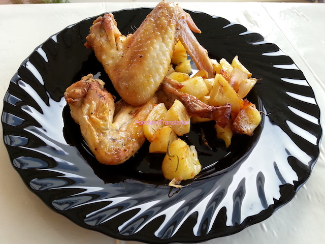 Alette di pollo al forno con patate - Baked chicken wings with potatoes