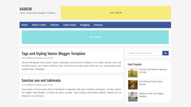 Vamor Responsive Blogger template
