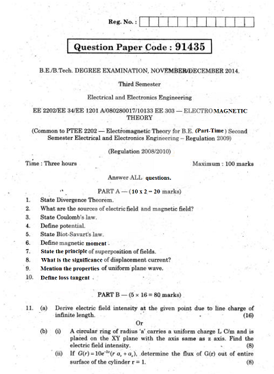 EE2202 Electromagnetic Theory Nov Dec 2014 Question Paper