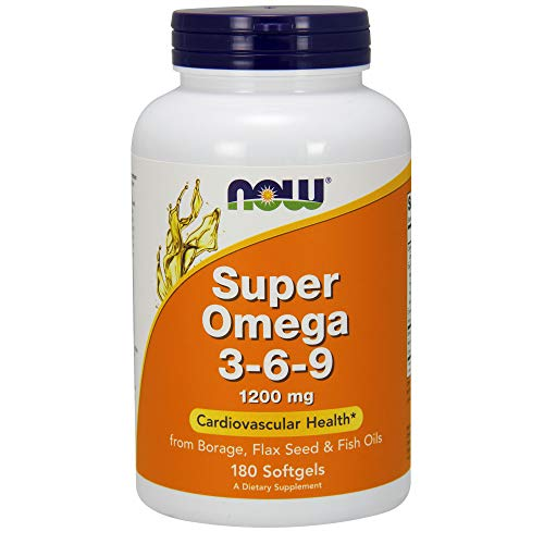 The best Now Supplements. Super Omega 3-6-9 1200 mg with a Blend of Fish. Borage and Flax Seed Oils. 180 Softgels 2019 - fish oil