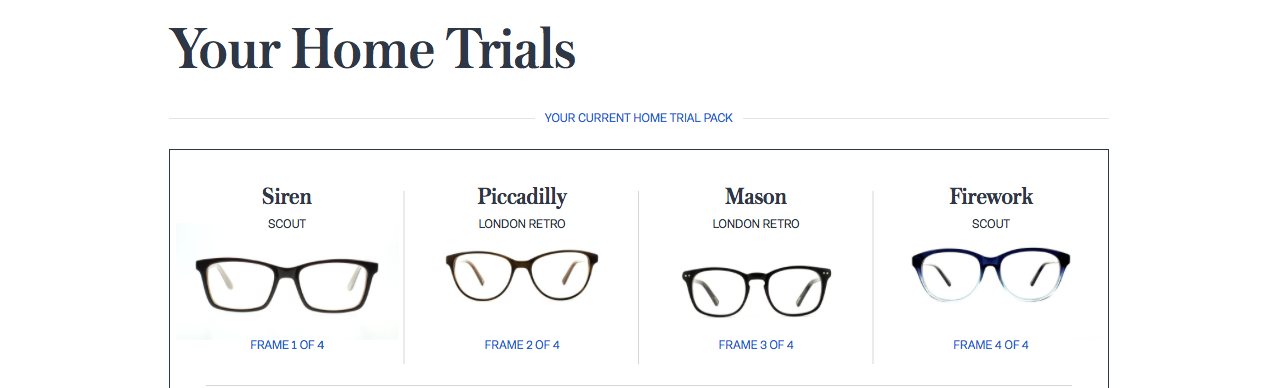 "A screenshot of the Glasses Direct website showing ""Your Home Trials"" with images of four pairs of glasses underneath."