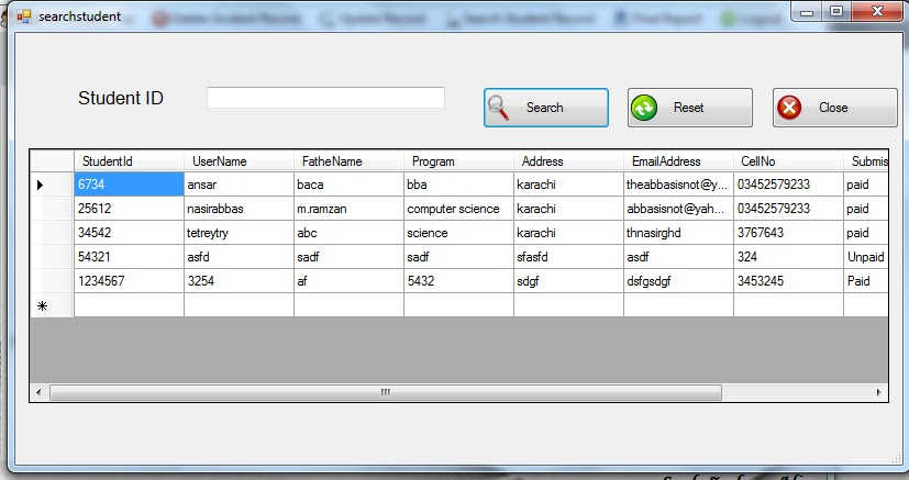 Download Student Fee Management System Project in c#  net