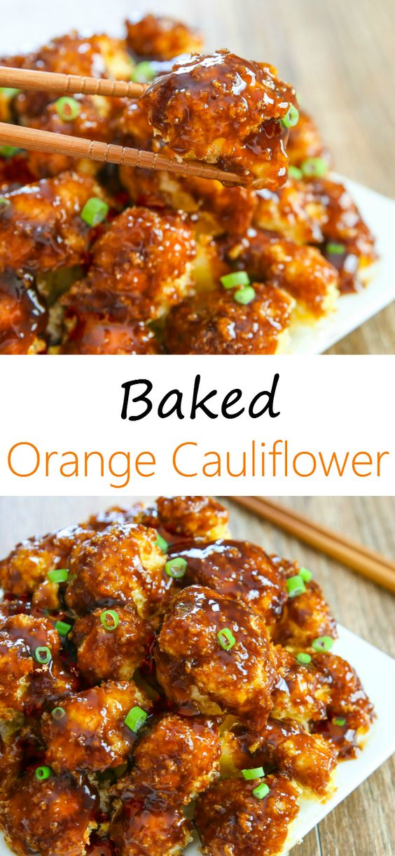 Baked Orange Cauliflower #sidedish #cauliflower #vegan