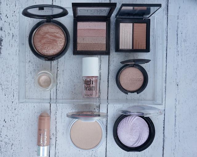 highlighter collection, beauty blogger, hanrosewilliams, hannah rose, mac, seventeen, nars, topshop, benefit, kiko, collection, the balm, makeup revolution,