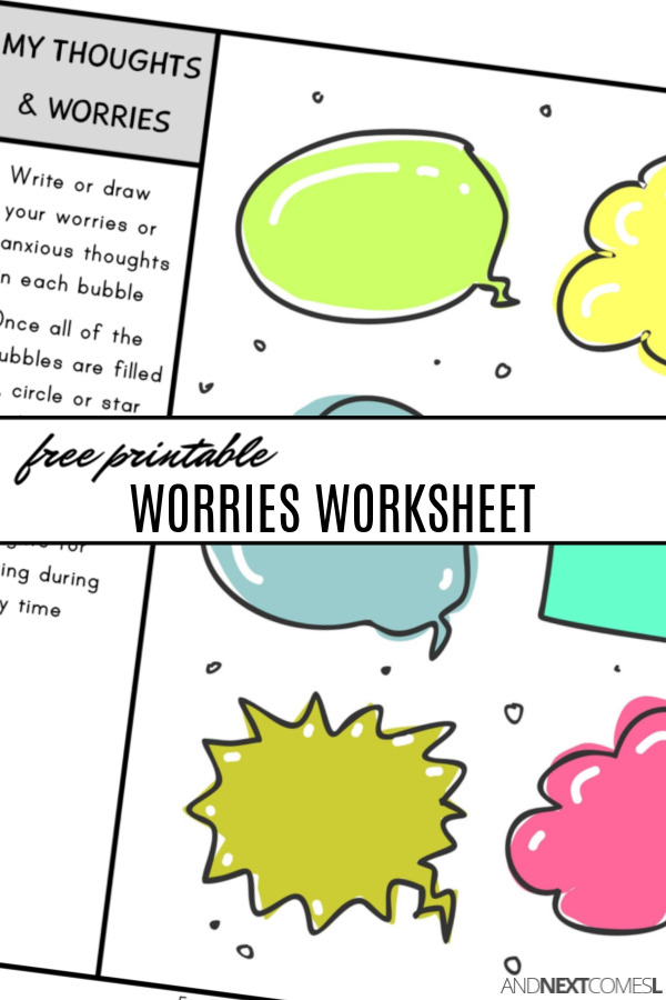 Free printable worries worksheet for kids to write down anxious thoughts {coping with anxiety worksheets for kids}