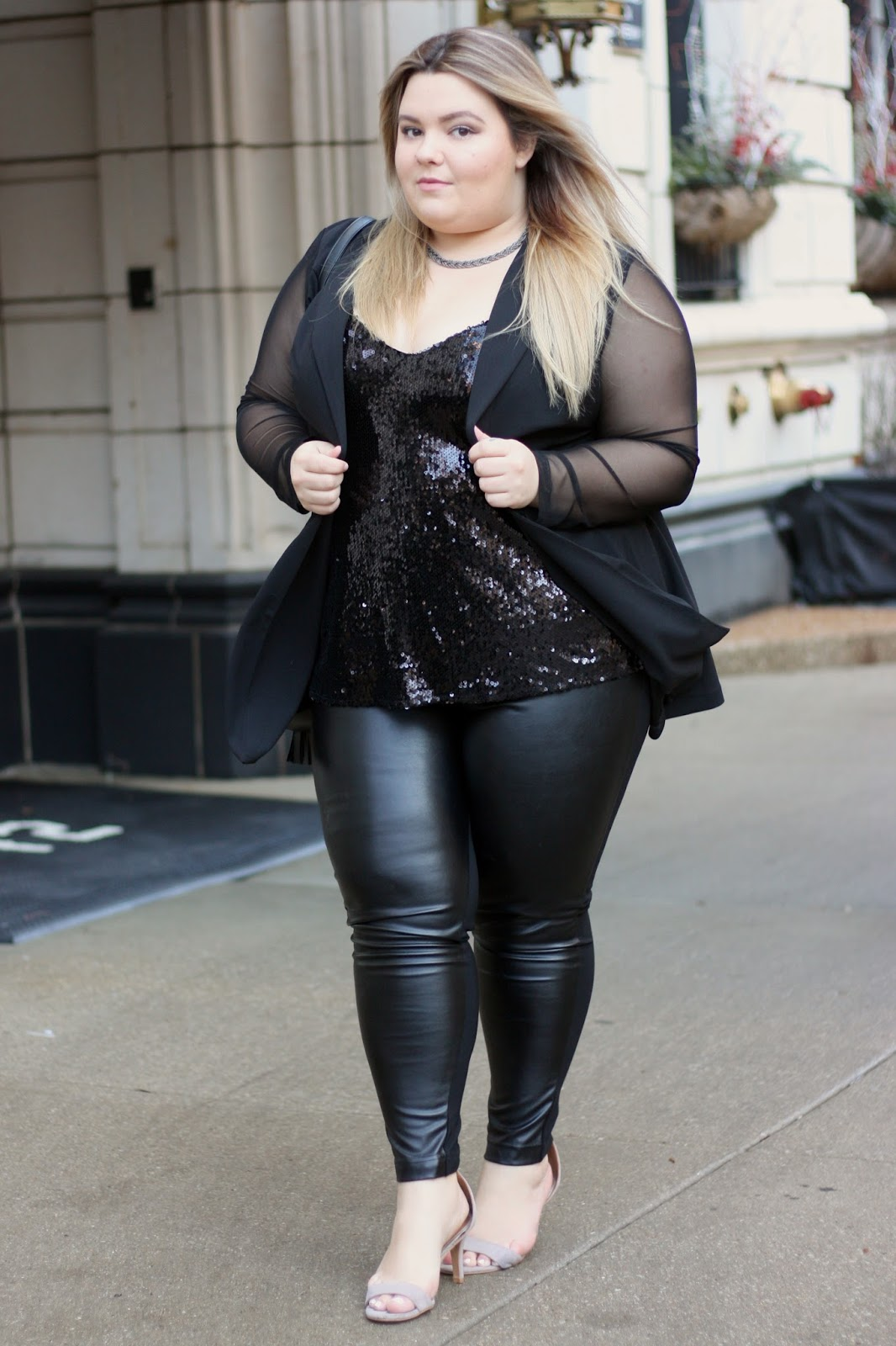 fashion to figure, natalie craig, where to shop for plus size clothing, natalie in the city, see through mesh, blazer, sequin tank top, plus size leather leggings pants, chicago blogger, valentines day date night ideas, valentines day outfit, fatshion, plus size blogger