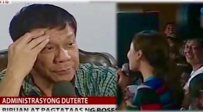 President-elect Duterte catcalls Mariz Umali during press conference