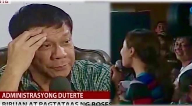 President-elect Duterte catcalls Mariz Umali during press conference