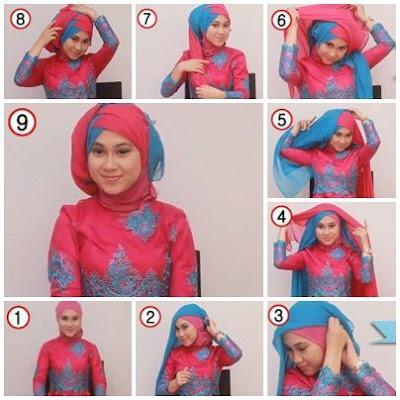 Tutorial Hijab Turban Segi Empat Modern Gaya #11 Drappery Dua Warna Dua Kerudung