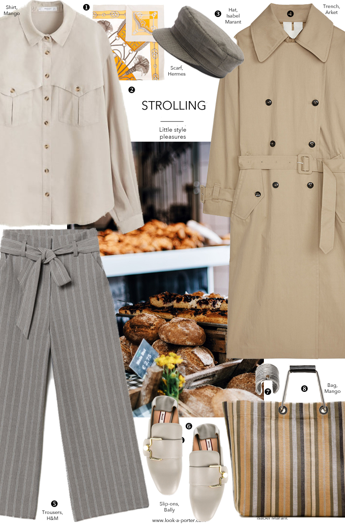 Styling casual outfit look with wide striped trousers, classic camel trench coat, tote bag, boys cap, masculine feminine trend with Mango, Hermes, Isabel Marant, Mango for look-a-porter.com fashion blog, daily outfit ideas, designer finds, wardrobe essentials, best buys