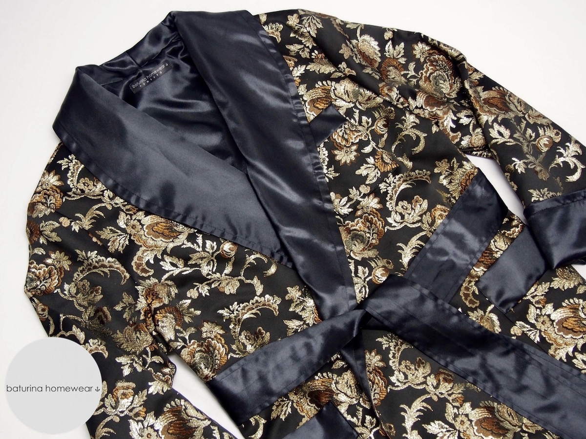 Jacquard Silk Men\'s Luxury Smoking Jacket Robe and Dressing Gown ...