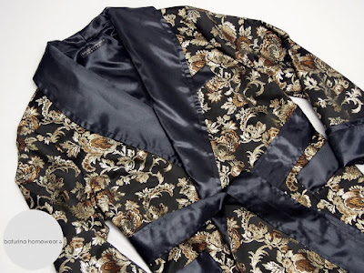 mans silk robe smoking jacket black gold brocade luxury dressing gown classic lined lightweight old hollywood
