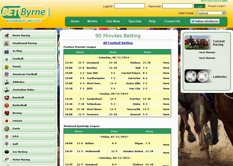 BetByrne Sportsbook Screen
