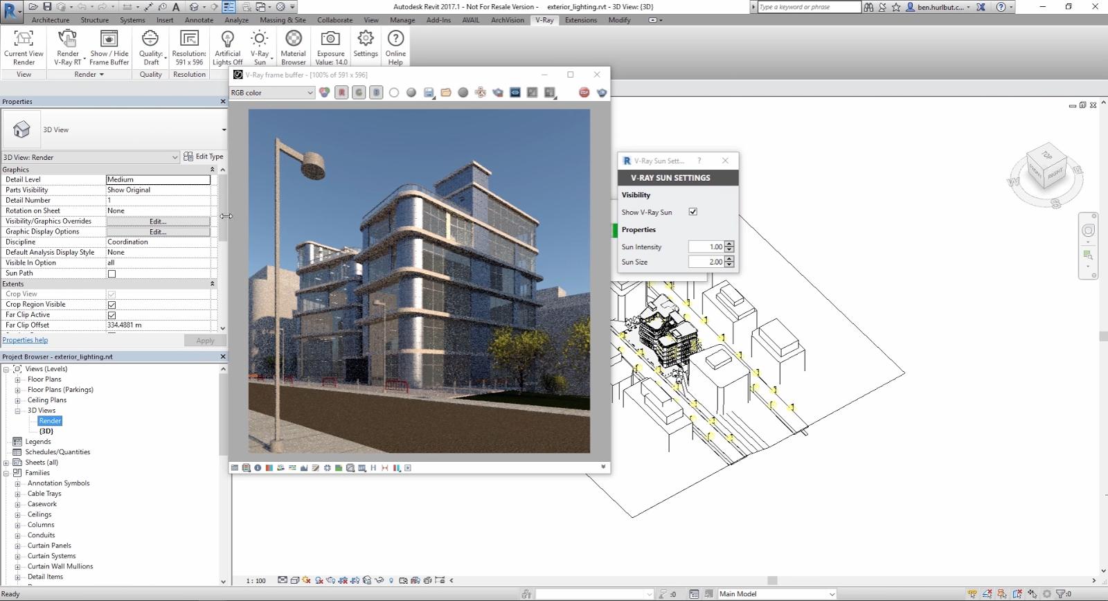 V-ray lighting for Exterior in Revit CG TUTORIAL