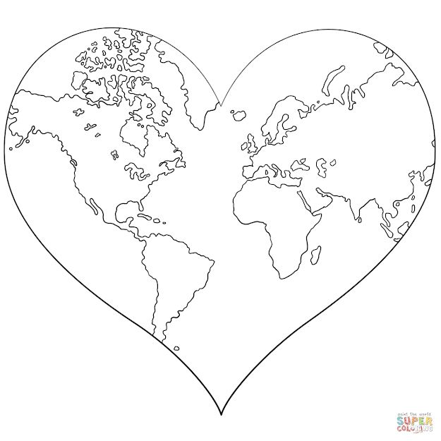Click The Heart Shaped Earth Coloring Pages