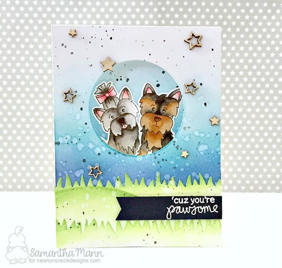 Pawsome dog card by Samantha Mann | Terrific Terriers | Dog Stamp Set by Newton's Nook Designs #newtonsnook