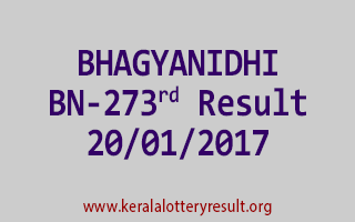 BHAGYANIDHI BN 273 Lottery Results 20-01-2017