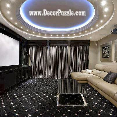 luxury gypsum ceiling design 2018 with led ceiling lights for living room