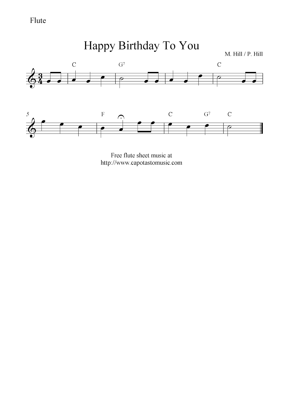image regarding Printable Flute Sheet Music called Satisfied Birthday In direction of On your own, totally free flute sheet new music notes