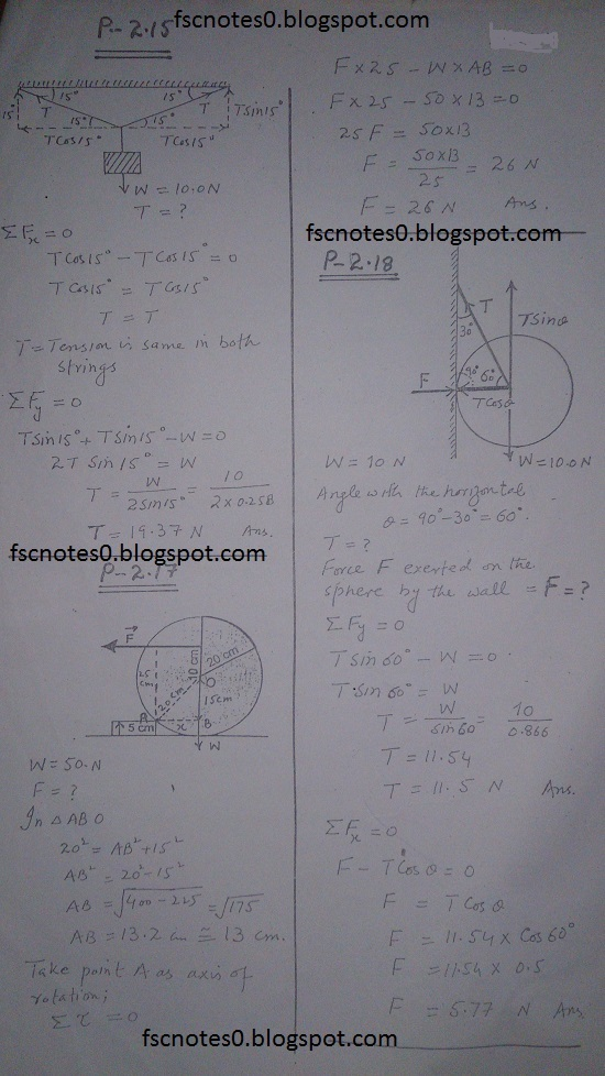 F.Sc ICS Notes: Physics XI: Chapter 2 Vectors and Equilibrium Numerical Problems Asad Hussain 4