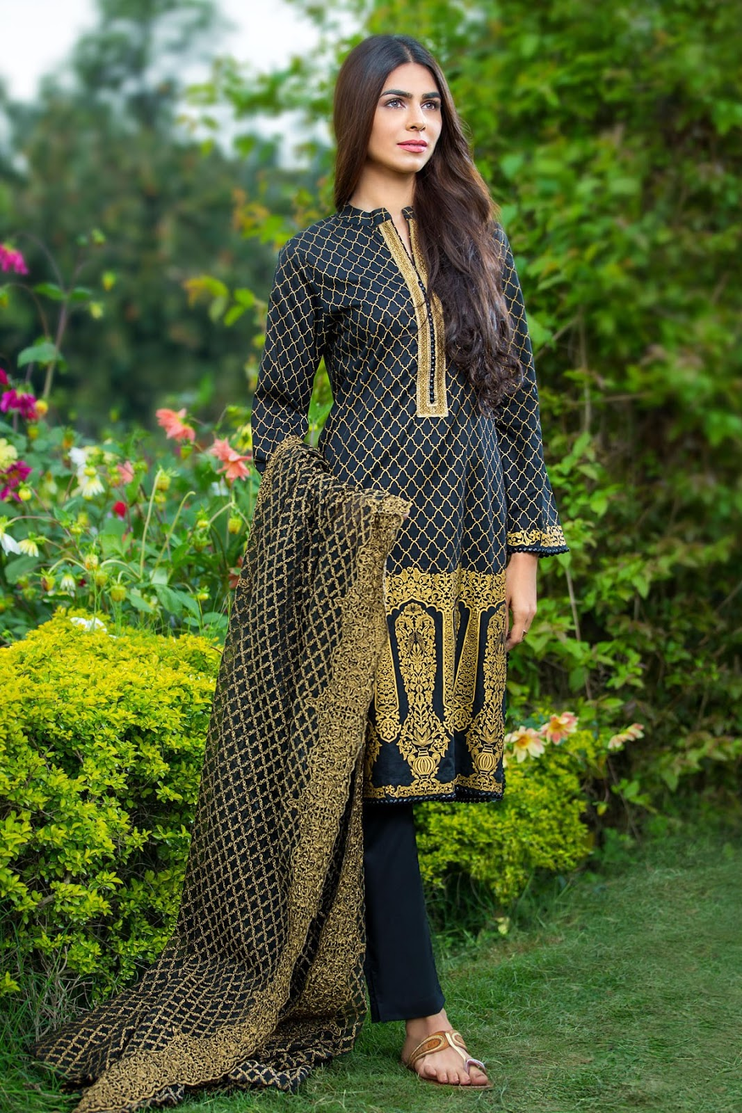 50ed1256ae Alkaram Studio Lawn Spring Collection 2016 Vol-2 LAWN 3 PIECE - EXCLUSIVE  CHIFFON WITH EMBROIDERY SS-145-Black