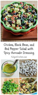 Recipe for Chicken, Black Bean, and Red Pepper Salad with Spicy Avocado Dressing [from KalynsKitchen.com]
