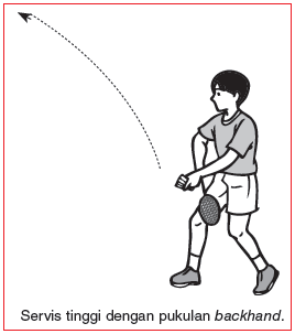 servis tinggi dengan pukulan backhand