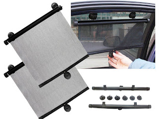 Special price £6.95 – 2 x 55cm car window sun shade roller blind screen protector