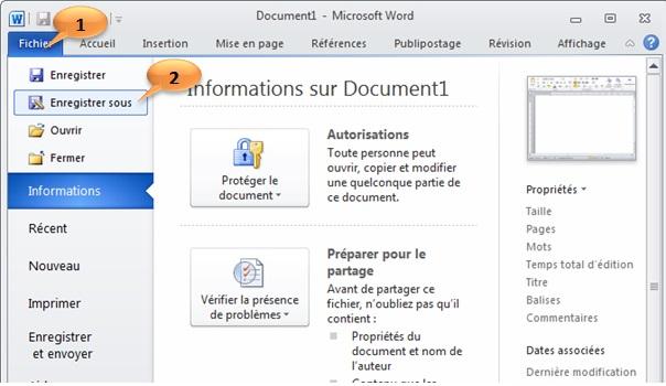 تعلم word2010 الدرس الثالث :Enregistrer un document Word