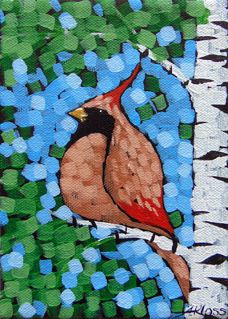 painting of a songbird at sivertson gallery by artist aaron kloss