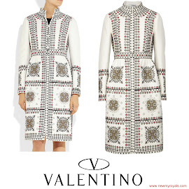 Crown Princess Mette-Marit Style VALENTINO Embroidered wool blend Coat