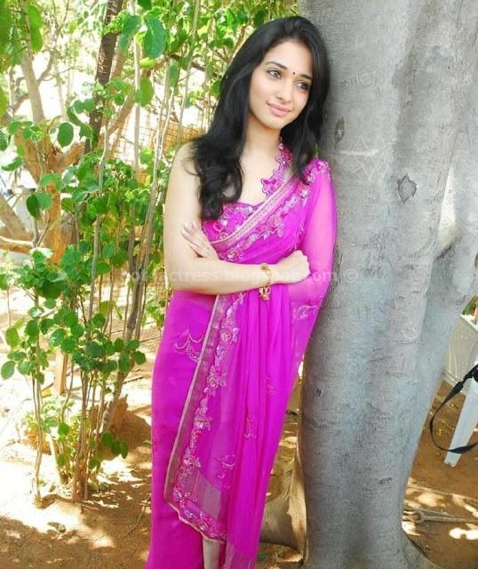 Tamanna in rose saree