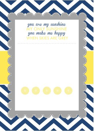 """You are My Sunshine"" Baby Shower Printables"