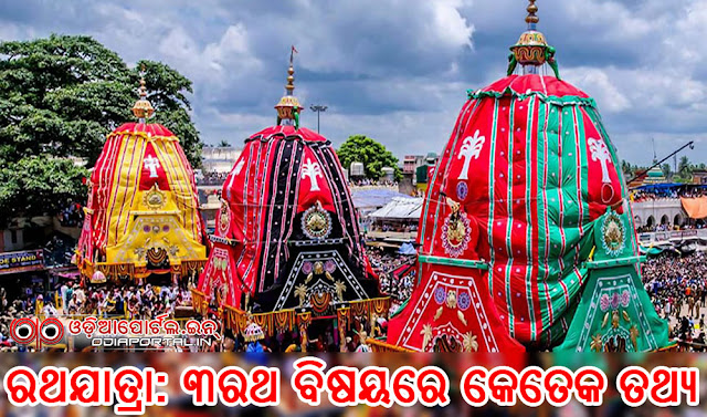 Interesting Facts & Details of 3 Chariots (Rath) of Jagannath, Balabhadra, Subhadra, rathyatra, rath details, construction, cloths, wheels, dadhinauti, logs, chariot, The Taladhwaja, Langaladhwaja, Deva Dalan, Darpadalan or Padma Dhwaja, The Nandighosa, Garudadhwaja, Kapiladhwaja complete details, facts and trivia,