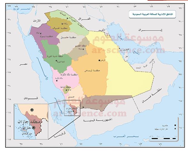 ألاحظ الخارطة، ثم أوقع عليها مناطق المملكة ومركز كل منطقة .