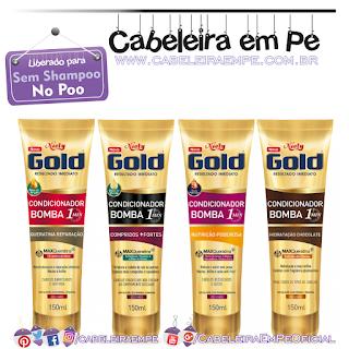 Condicionadores Bomba 1 minuto (Compridos mais Fortes, Queratina Reparação, Nutrição Poderosa e Hidratação Chocolate - Niely Gold (No Poo)
