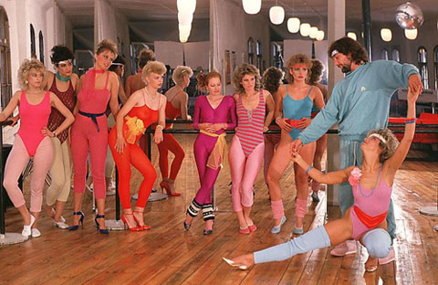 A 1980s dance class