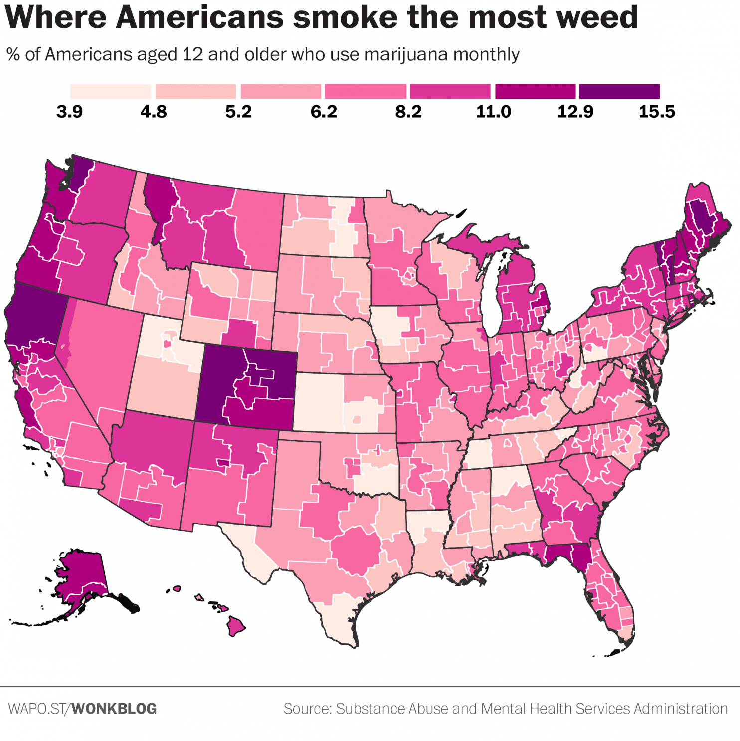 Where Americans smoke the most weed?