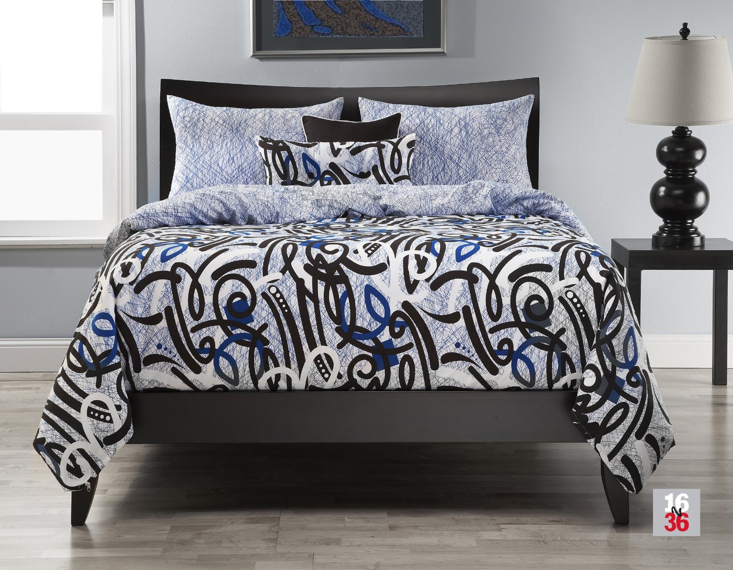 Black And White Graffiti Style Urban Modern Bed Set