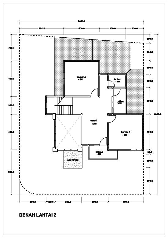 Denah rumah sudut minimalis dua lantai dengan 5 kamar tidur