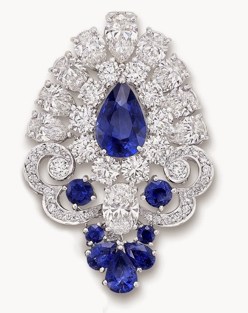 """18b179c4d """"For me, gemstone beads embody fluidity and movement so I created a design  for a piece with row upon row of draped sapphires and diamonds, which lead  the ..."""