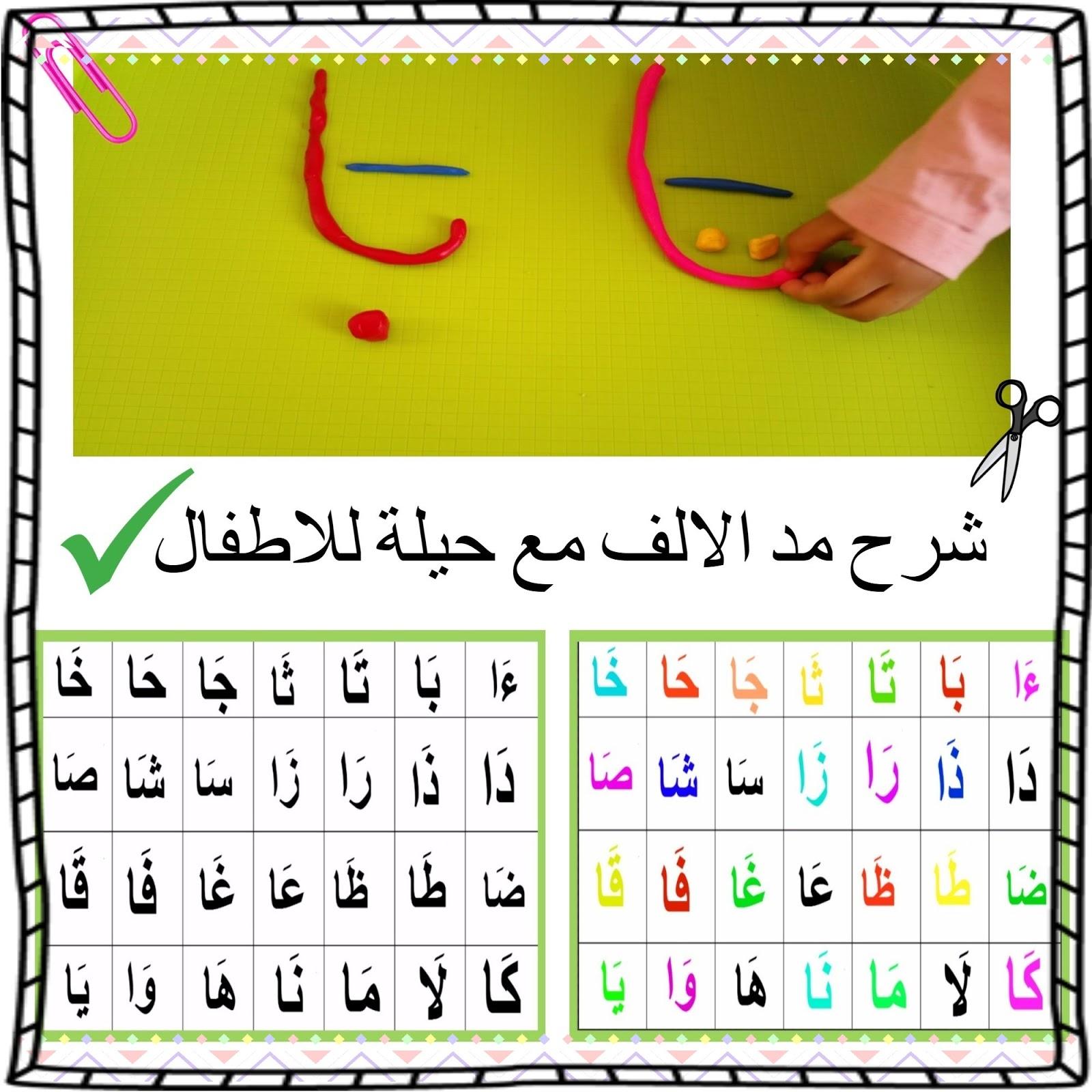 مد الالف شرح بالصور وحيلة سهلة للأطفال بالصلصال