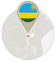 Rwandan flag and map