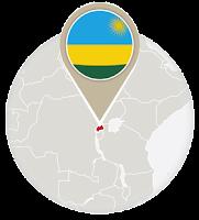 Rwandan flag and map