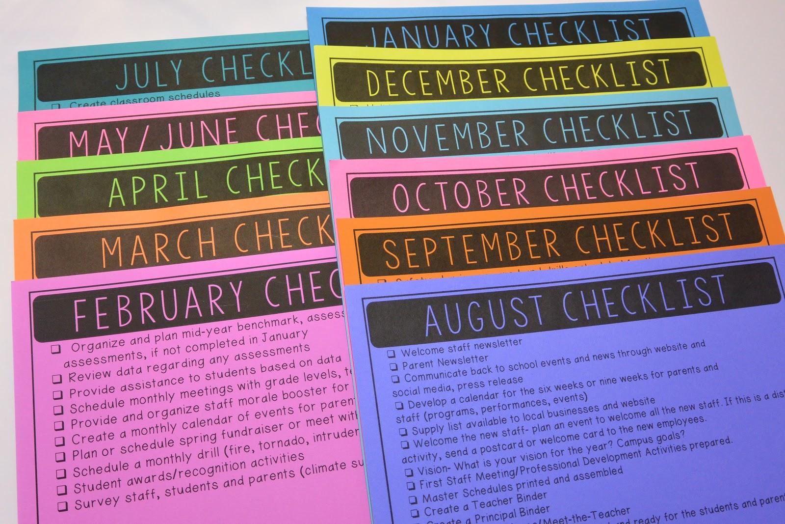 principal s monthly to do checklists principal principles