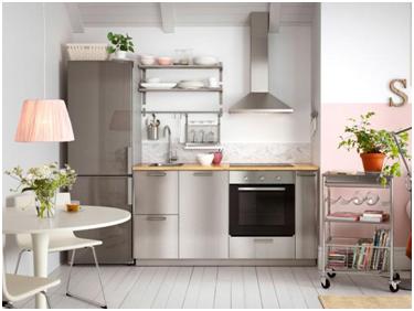 Corriere del web l utilizzo dei pensili in acciaio nel design delle cucine casalinghe ecco - Blocco cucina ikea ...