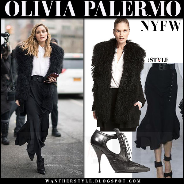 Olivia Palermo in black fur collar cardigan vince, black midi skirt michael kors and black booties New York Fashion Week what she wore