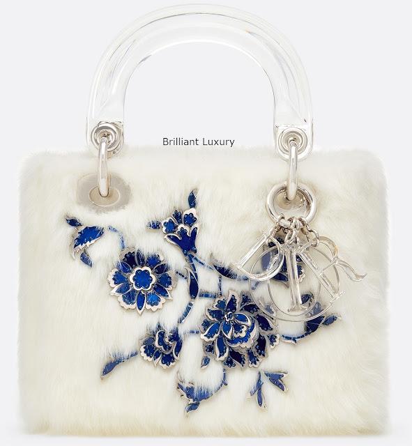 Brilliant Luxury♦Lady Dior bag, optic white color faux fur embroidered with metallic and blue flowers, designer Burçak Bingöl
